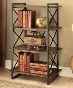 Medium Weathered Oak Loper Industrial Four-Tier Display Shelf