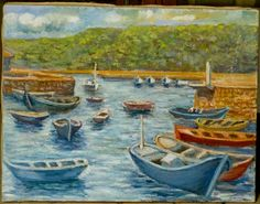 Art by Maria Luisa Ibanez, a Spanish artist. Spain art. #MariaLuisaIbanezArt #Art #Painting #Spain #Arte #Espana #Cuadros #harbours #boats #puertos #barcos