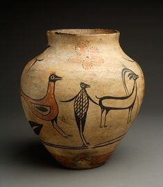 Kewa (Santo Domingo) Pottery Olla, Bird to Man Transformation Design circa 1890- Lyn A. Fox Fine Pueblo Pottery