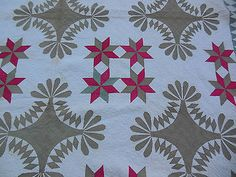 Antique Red Green Hand Pieced Hand Quilted Quilt 92 by 88, eBay, junkenmama
