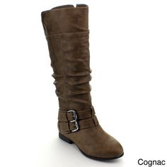 Top Moda Coco-20 Women's Knee-high Buckle Slouched Boots - Overstock™ Shopping - Great Deals on Boots