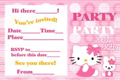 hello kity party pics | FREE PRINTABLE HELLO KITTY PARTY CARDS INVITES