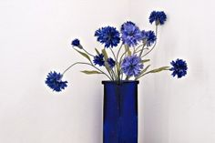 Anniversary gift for 45 years. Sapphire blue vase and flowers.