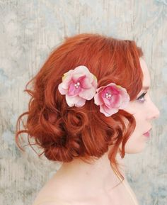 Flower bobby pins pink floral clip set wedding by gardensofwhimsy, $24.00