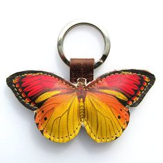 Leather keyring / bag charm - Little yellow Butterfly Leather Keyring, Split Ring, Leather Working, Small Gifts, Arts And Crafts, Butterfly, Charmed, Hand Painted, Personalized Items