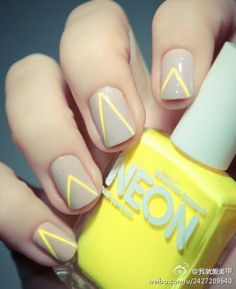 Yellow triangle, art, nail