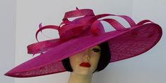 Dramatic Derby Hat - Fuchsia Wide Brim Loop Hat by HAT-A-TUDE.com