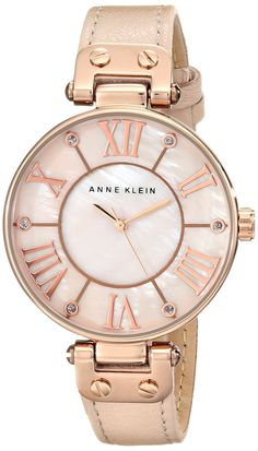Amazon.com: Anne Klein Women's 10/9918RGLP Rose Gold-Tone Watch with Leather Band: Anne Klein: Watches
