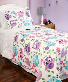 Cliab Owl Bedding Pink And Blue For Girls With Floral Polka Dots Full Duvet Cover Set 100 Cotton 4 Pieces Chambre Charlie Pinterest Owl Bedding