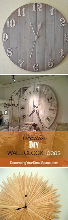 How to Make a Clock Classy DIY Clock Ideas Creative DIY Wall Clock Ideas! The post How to Make a Clock Classy DIY Clock Ideas appeared first on Woodworking ideas. Diy Projects To Try, Home Projects, Pallet Projects, Apartment Projects, Diy Clock, Clock Ideas, Wall Clock Decor, Big Wall Clocks, Hanging Clock
