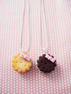 Biscuit Cookie Necklace Polymer Clay, Miniature Clay Dessert Food Jewelry, Ball Chain
