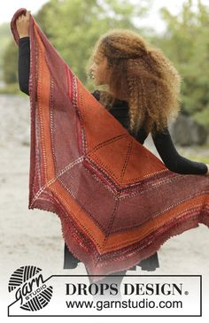Dragon Fire by DROPS Design. Shawl with stripes. Free #knitting pattern