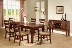 Dining Table With 6 Chairs 7 Pc. Set  Priscilla I Collection CM3111This contemporary interpretation of a Mission style dining table brings an easygoing atmosphere with the warm antique oak fi nish. The rectangular table can be enlarged with a leaf. The matching server has convenien drawers and cupboards and a built-in wine rack. The ladder back chairs have padded and upholstered seats.• Bold