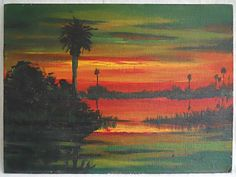 Florida Everglades and bay at sunset. If you are expecting it to be new in the box, never touched by life or human hands, it is not for you. no local pick up. Acrylic Canvas, Abstract Canvas, Art Vintage, Vintage Paintings, Orange Painting, Boat Art, Vintage Florida, Decoration, Original Paintings