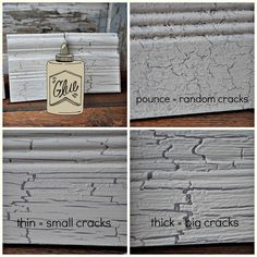 Crackle finish with white glue: pounce vs thin linear vs thick linear Glue Painting, Crackle Painting, Painting Tips, Painting Techniques, Paint Furniture, Furniture Projects, Furniture Makeover, Funky Furniture, Furniture Design
