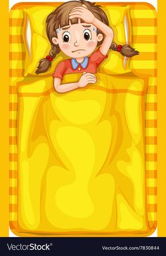 Girl feeling sick in bed vector image on VectorStock Vector Free, Well Images, Flashcards For Kids, Powerpoint Design Templates, School Frame, Water Drawing, Borders And Frames, Flower Aesthetic, Cartoons