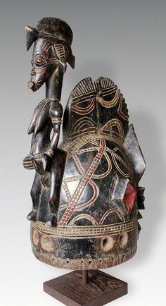 Africa | Helmet 'deguele' mask from the Senufo people of northern Ivory Coast, Korhogo region | Wood and paint