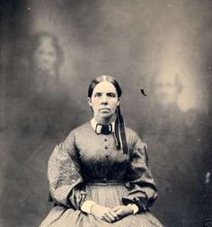 tintype. it looks like to me that she was placed in the picture...idk..hmm.