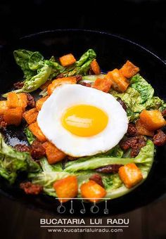 Spiced chorizo crumbs with wilted lettuce and fried duck egg recipe. Chorizo, 30 Minute Meals, Egg Recipes, Lettuce, Fries, Bacon, Eggs, Breakfast, Ethnic Recipes