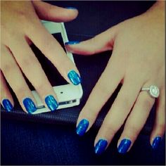 The blue nails I rocked for my PynkMag photo shoot. Blue base then blue glitter