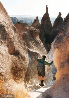 Hiking in the fairy chimneys in Cappadocia, Turkey
