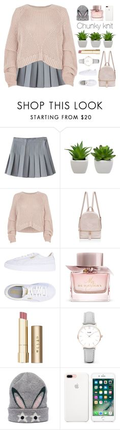 """C H U N K Y (TS Sept. 9th 2017)"" by amethyst0818 ❤ liked on Polyvore featuring River Island, Puma, Burberry, Stila, CLUSE and MCM"