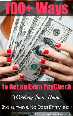 There are millions of scams online how to get rich fast. Stay away of these ones. Here are the real extra ways to make money from home so you can get an extra paycheck every month. Since data entry, surveys, etc typically only pay few bucks, I did not include those. The smarter you work and the more income streams you have, the faster you get out of debt and achieve your financial goals. http://www.financiallywiseonheels.com/extra-ways-to-make-money-from-home/