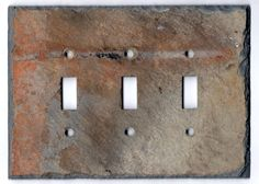 Upcycled Triple Slate Switchplate Toggle Wall Light Cover Switch Plate Recycled Reclaimed Vermont Slate