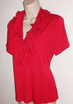 Soft Surroundings Stretchy Knit Top M 8 10 Ruffle V-Neck Red Pink Striped Medium #SoftSurroundings #KnitTop