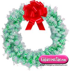 Candy Wreaths-The Starlight Spearmint Mints Candy Wreath is a yummy treat and a great Christmas gift to hang in your house, office or purchase for someone else special. Put your order in soon before Christmas is here.