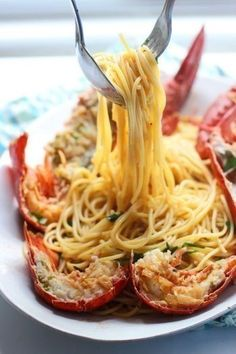 Lobster Spaghetti (Santorini Style) A Giveaway!