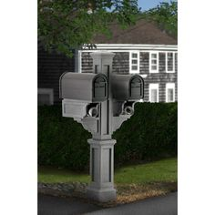 Rockport Plastic Double Mailbox Post In Granite