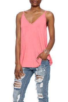 This coral a-line tank in the softest bamboo jersey was made for a sun soaked beauty. This tank features a double triangle bodice and back.  Sun Kissed Tank by Twist. Clothing - Tops - Tees & Tanks Clothing - Tops - Sleeveless Santa Monica Los Angeles California