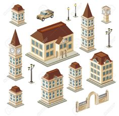12481434-A-set-of-urban-and-antique-buildings-in-the-isometric-Stock-Vector.jpg (1300×1270)