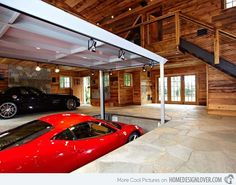 A Creative and Luxurious House Garage. Lower the car instead of lifting it.
