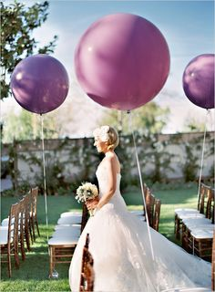 PANTONE Color of the Year 2014 - Radiant Orchid wedding inspiration giant balloons for ceremony aisle markers Purple Balloons, Large Balloons, Giant Balloons, Round Balloons, Helium Balloons, Balloon Balloon, Qualatex Balloons, Transparent Balloons, Purple Wedding
