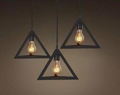 Vintage Triangle Pendant Light Fixture Hanging Lamp Edison Rustic Living Room Pack of 3