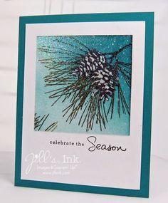Ornamental Pine : SU!, sponging w/ Island Indigo,embossed whole are w/ Iridescent Ice Stampin' Emboss Powder, Jill's Ink