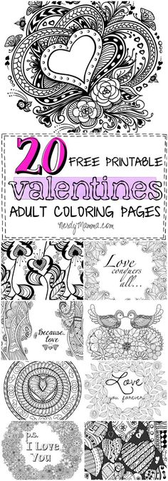 These 20 Valentines Free Printable Adult Coloring Pages are so awesome. I love coloring and these are so full of--well, love! P