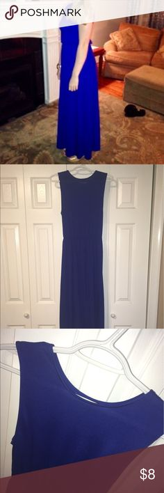 """Cobalt Blue, Cotton, Maxi Dress This 100% cotton, floor length Maxi Dress is a hit for summer! It has 2"""" tank top sleeves with a boat neckline, as well as an elastic cinching around the waist area. Breathable and lightweight for hotter weather! Only worn once (see picture) H&M Dresses Maxi"""