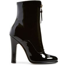 """Valentino 'Rebelle' Round Toe Zip Bootie, 3 3/4"""" heel ($630) ❤ liked on Polyvore featuring shoes, boots, ankle booties, high heel bootie, high heel ankle boots, high heel ankle booties, high heel boots and patent ankle boots"""