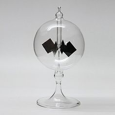 Vacuum Solar Radiometer Wind Mill Solar Windmill- Glass Decoration Home Car (Colourless, Small Size). Demonstrates that light can produce force on dark colored surfaces. Four square panels / vanes are mounted on a rotating shaft in an evacuated glass tube / bulb. One side of each vane is black; the other side is silver. Direct light pushes on the black sides, causing the wind vane to rotate. Glass base for stability.