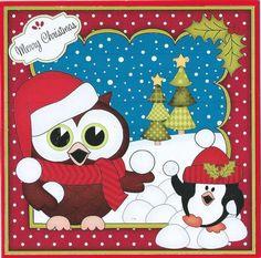 Card Gallery - 8x8 Xmas Little Hoot Owl Snowball Fight 3D Decoupage