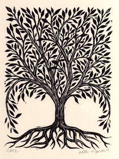 Tree Linocut Art Print via Etsy