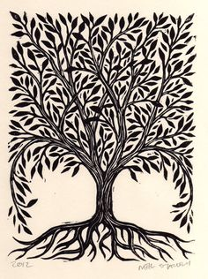 Tree Linocut Art Print via Etsy