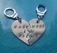 Partners In Crime Keychains  Silver Filled Best by StuffByStace, $25.00