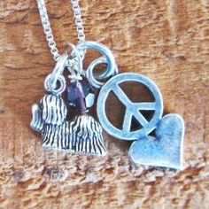 Yorkshire Terrier Mini Peace Love Sterling Silver Necklace