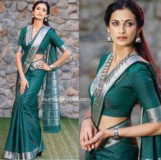 shilpa reddy in green narayanpet saree scaled