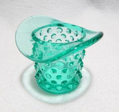 Vintage Fenton Hobnail Aqua Glass Top Hat