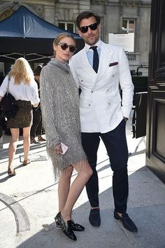 Olivia Palermo and Johannes Huebl arrive at Valentino Fashion Show during Paris Fashion Week : Haute Couture F/W 2016-2017 on July 6, 2016 in Paris, France.